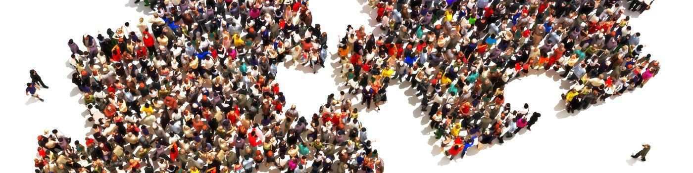 Aerial view of People gathering in puzzle shapes