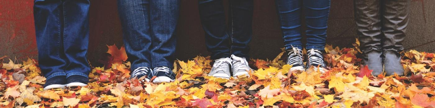 Five youth's legs standing in pile of autumn leaves