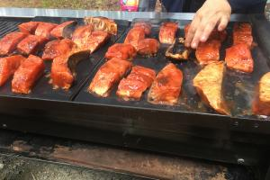 Salmon fillets on the barbeque
